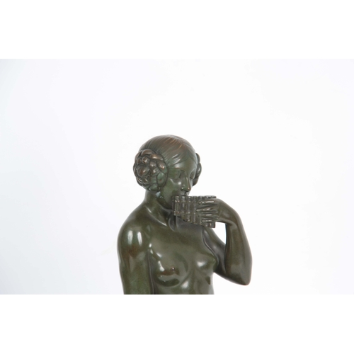 609 - MAURICE GUIRAUD-RIVIERE. A LARGE ART DECO GREEN PATINATED BRONZE SCULPTURE modelled as a seated youn...