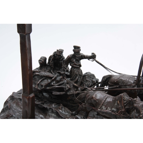 615 - AFTER VASILY GRACHEV (1831-1905) A LARGE 20TH CENTURY RUSSIAN BRONZE SCULPTURE TITLED 'THE MILEPOST'...