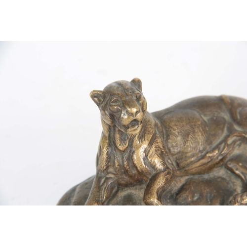 620 - AFTER PAUL EDOUARD DELABRIERRE. A LATE 19th CENTURY PATINATED BRONZE SCULPTURE modelled as a recumbe...