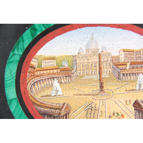 622 - A LATE 19TH CENTURY ITALIAN MICRO MOSAIC GRAND TOUR PAPERWEIGHT with a view of the Vatican bordered ...