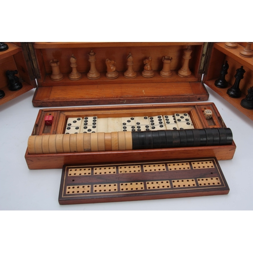 625 - A VICTORIAN MAHOGANY GAMES COMPENDIUM WITH JAQUES MONOGRAM having a hinged fold-out front and lid en...