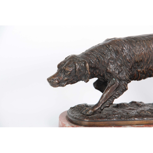 631 - A LATE 19th CENTURY PATINATED BRONZE SCULPTURE modelled as a gun dog standing on naturalistic base m...