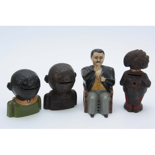 635 - A COLLECTION OF PAINTED CAST IRON MONEY BANKS to include a Tammany bank with gentleman nodding his h...