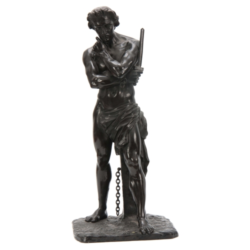 638 - A 19th CENTURY PATINATED BRONZE SCULPTURE modelled as a semi-nude gladiator standing on a naturalist...