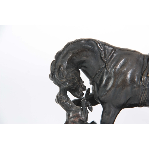 639 - PIERRE LENORDEZ. A LATE 19th CENTURY BRONZE SCULPTURE modelled as a horse and hound on naturalistic ...
