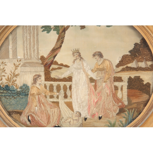 641 - A GEORGE III OVAL SILK GROUND NEEDLEWORK PICTURE  worked in varies stitches wit figures and a child ...