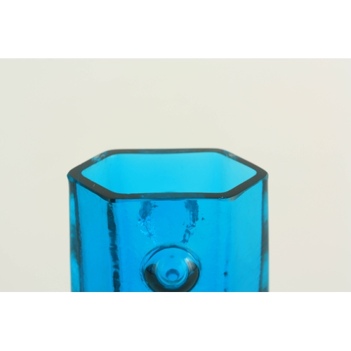 10 - A 20TH CENTURY WHITEFRIARS GLASS VASE of angular form 12.5cm high