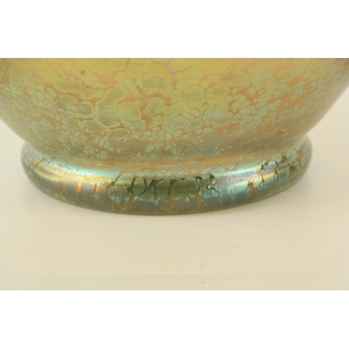 12 - AN ART DECO LOETZ IRIDESCENT GLASS BOWL in the Papillion decor, Candia on clear glass with crimped r...