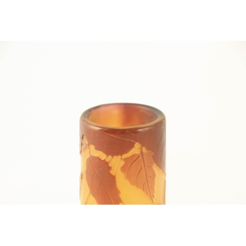13 - AN ART NOUVEAU GALLE SQUAT GLASS CABINET VASE having dark yellow ground with overlaid sprays of flow...