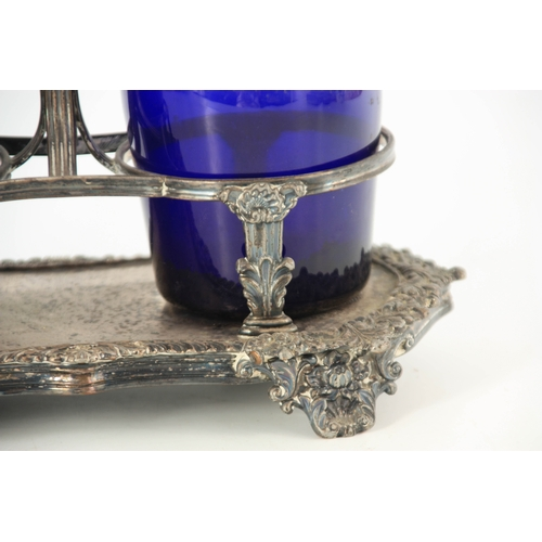 2 - TWO EARLY 19TH CENTURY BRISTOL BLUE DECANTERS FOR RUM AND BRANDY mounted in an old Sheffield plate s...