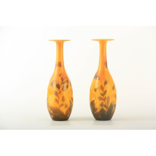 20 - A FINE PAIR OF ART NOUVEAU SIGNED LOETZ YELLOW GROUND DIMPLED SLENDER OVOID GLASS CABINET VASES with...