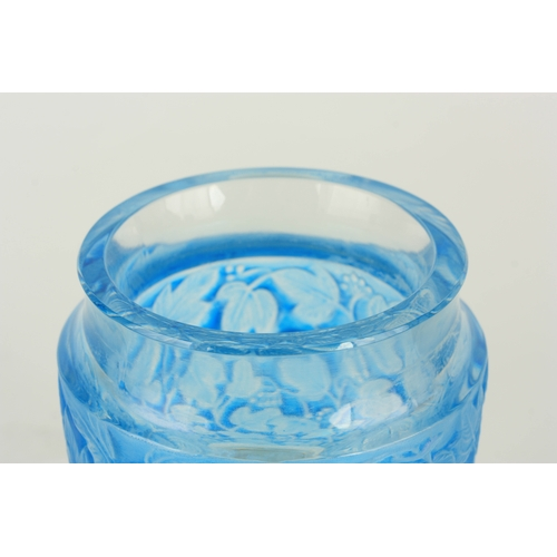 26 - A 20TH CENTURY R. LALIQUE BLUE STAINED DEAUVILLE GLASS VASE - stamped R. Lalique France 14cm high