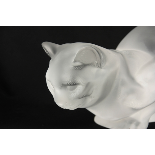 28 - A 20TH CENTURY LALIQUE GLASS SCULPTURE OF A  SEATED CAT engraved signature R LALIQUE , FRANCE 24cm w...