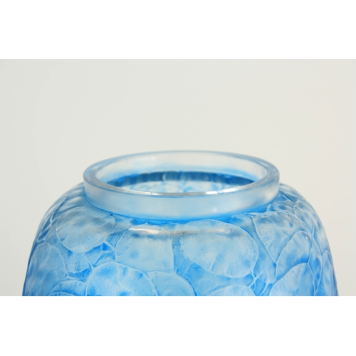 29 - A 20TH CENTURY R. LALIQUE MONNAIE DU PAPE BLUE STAINED GLASS VASE decorated with leaf work - stamped...