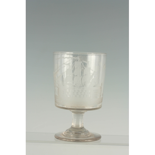 3 - A FINE REGENCY LARGE GLASS RUMMER COMMEMORATING NELSON'S VICTORY AT THE BATTLE OF TRAFALGAR AND THE ...