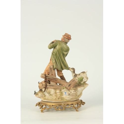 46 - A NAPLES CAPODIMONTE FIGURE OF A FLY FISHERMAN on cast gilt brass oval rococo base 33cm high TOGETHE...