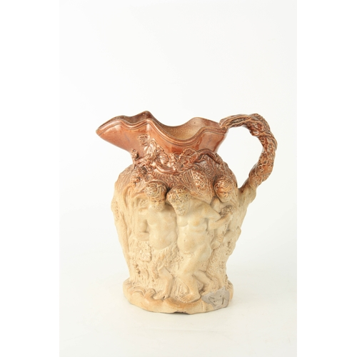 49 - A 19TH CENTURY LARGE RELIEF MOULDED STONEWARE HARVEST JUG of ornate design with double-sided figure ...