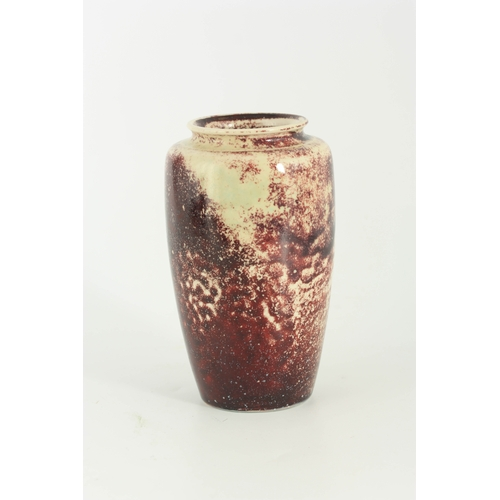 54 - A RUSKIN HIGH FIRED CERAMIC VASE - stamped to the base Ruskin England numbered 1823 15cm high
