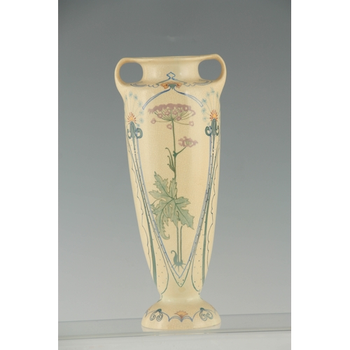 58 - A 20TH CENTURY ART POTTERY TWO HANDLED VASE BY ARNHEM numbered 157 and initialled J K decorated with...