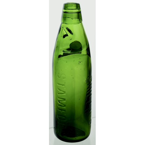 6 - Stamford 10oz Dobson Patent codd bottle. 9ins tall. Green glass with dark green marble. Embossed ver...