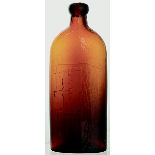 3 - Warners Safe Cure. 9.2ins tall, dark amber glass, chunky blob lip. All time classic cure bottle mbos...