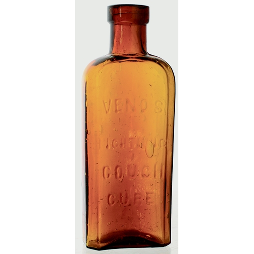 12 - VENO'S LIGHTNING COUGH CURE. 5ins tall, amber glass, rectangular shape, round shoulders, square lip ...