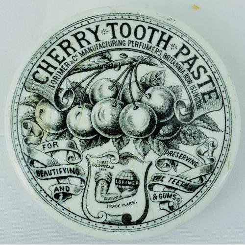 17 - CHERRY TOOTH PASTE POT LID. 2.5 ins diam, black transfer CHERRY TOOTH PASTE/ LORIMER & CO/ ISLINGTON...