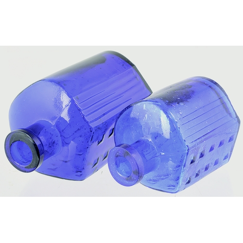 19 - Hexagonal Poison Duo. Tallest 4.5ins ins. Cobalt blue glass, (largest is darker) vertical ribbing to...
