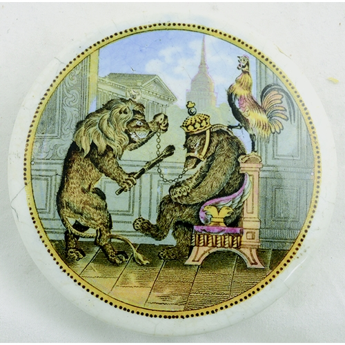502 - BEAR, LION AND COCK POT LID. (KM 19) 3.25ins diam. Related to the Crimean War, the bear represents R...