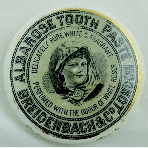 509 - ALBAROSE TOOTH PASTE POT LID. (APL p 261, 100a) 3.75ins diam. Young girl pictorial with grey backgro...