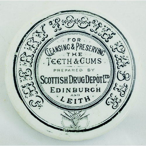 516 - EDINBURGH & LEITH TOOTH PASTE POT LID. (APL p 544, 81a) 2.75ins diam. White glaze, black transfer CH...