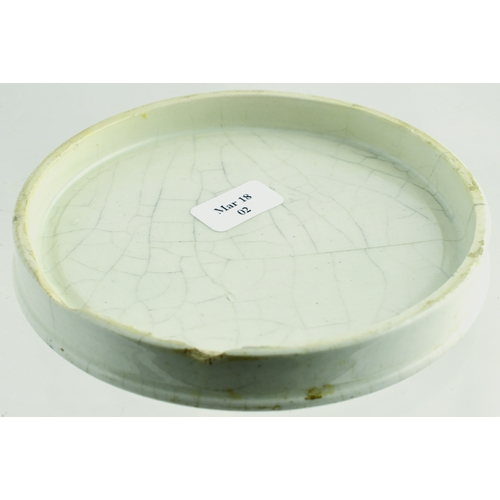 517 - ROCHDALE PEARL DENTIFRICE POT LID. (APL p 167, 37) 3.5ins diam. White glaze, black transfer FRAGRANT...