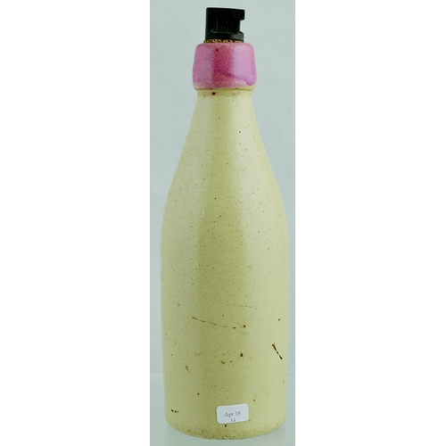 543 - GLASGOW GINGER BEER BOTTLE. 9.5ins tall. All white, ch, with original stopper, pink lip & strong bla...