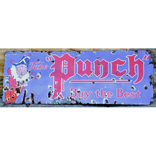 1 - PUNCH ENAMEL SIGN. 49 by 18ins. Pictorial image of Mr Punch L side & TAKE PUNCH/ BUY THE BEST - red ...