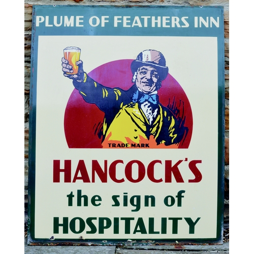 103 - HANCOCKS ENAMEL SIGN. 44 by 35.5ins. Large enamel sign for the PLUME OF FEATHERS INN/ HANCOCKS/ THE ...