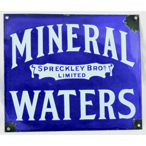 104 - WORCESTER MINERAL WATERS ENAMEL SIGN. 14 by 12ins. Blue background MINERAL/ SPRECKLEY BROS/ LIMITED/...