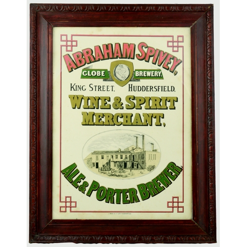 11 - HUDDERSFIELD ABRAHAM SPIVEY FRAMED ADVERT. 27.5 by 21ins. Central pict. image of works ABRAHAM SPIVE...
