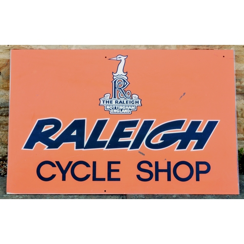 14 - RALEIGH CYCLE SHOP SIGN. 36.5 by 23ins. Perspex sign for RALEIGH/ CYCLE SHOP & t.m. above in black &...