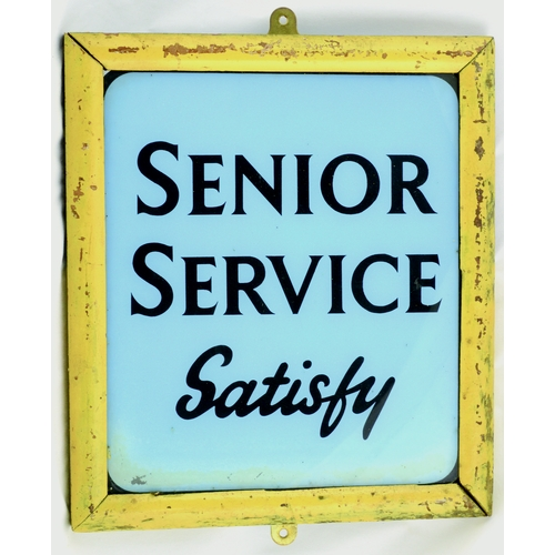 15 - SENIOR SERVICE FRAMED GLASS ADVERT. 11 by 10ins. Framed glass pane with SENIOR/ SERVICE/ SATISFY wor...