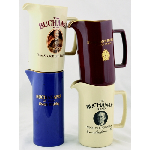 17 - BUCHANANS PUB JUG GROUP. Tallest 7ins. Four variations of Buchanans Scotch Whisky water jugs. All ve...