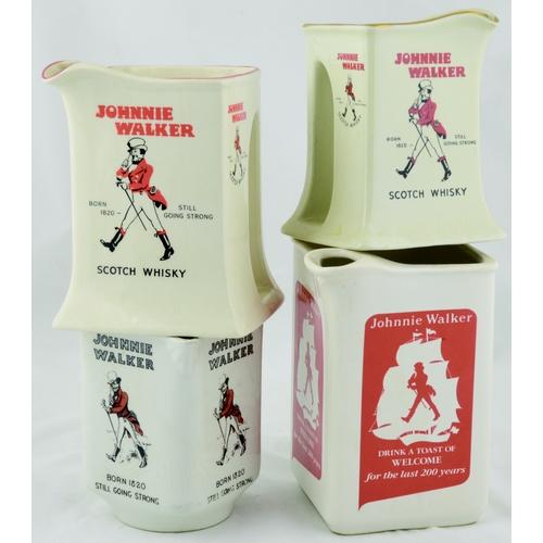18 - JOHNNIE WALKER PUB JUG GROUP. Tallest 6ins. Four variations of triangular shape Johnnie Walker Scotc...