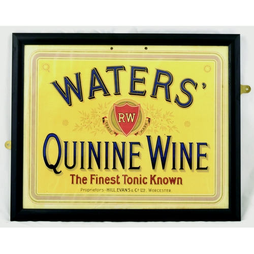 20 - WORCESTER QUININE WINE FRAMED SHOWCARD. 17.5 by 14.5ins. Colourful showcard for WATERS/ QUININE WINE...