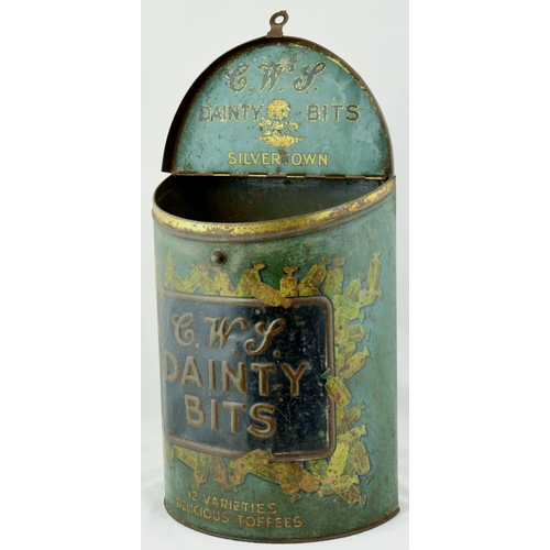 24 - CWS DAINTY BITS TIN. 15ins tall. Shop display tin for C.W.S./ DAINTY/ BITS... surrounded by sweets i...