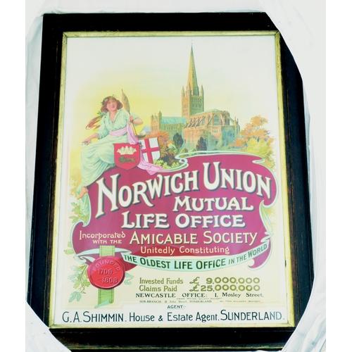 27 - SUNDERLAND NORWICH UNION FRAMED ADVERT. 35 by 25ins. Multicoloured advert for NORWICH UNION/ MUTUAL/...