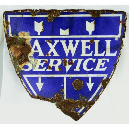 29 - MAXWELL SERVICE ENAMEL SIGN. 23.5 by 22ins. Sheild shape, double sided enamel sign for MAXWELL/ SERV...