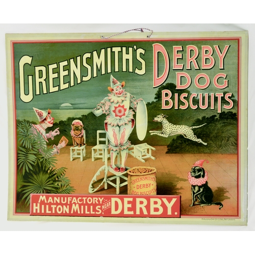 3 - GREENSMITHS DERBY DOG BISCUITS SHOWCARD. 24 by 18.75ins. Colourful image, GREENSMITHS DERBY/ DOG/ Bi...