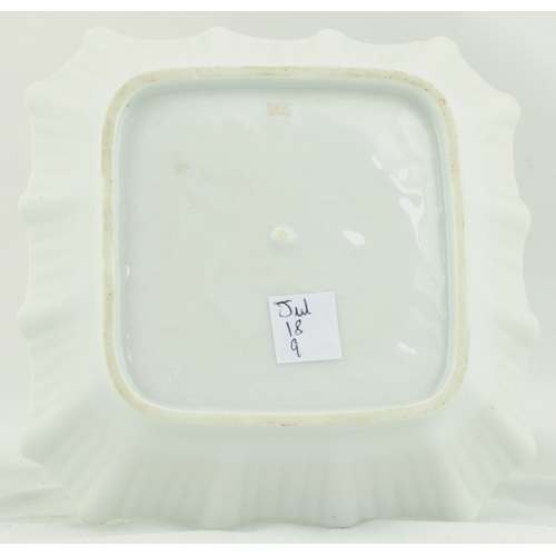32 - QUORN WHISKY ASHTRAY. 5.5ins square. Ceramic ashtray for QUORN/ SCOTCH WHISKY, top hatted gent & med...
