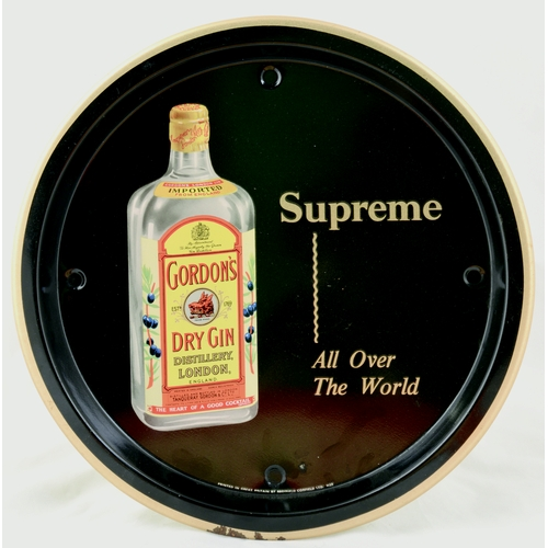 4 - GORDONS GIN TRAY. 10.5ins diam. Circular tray, bottle of Gordons Dry Gin image & SUPREME/ ALL OVER/ ...
