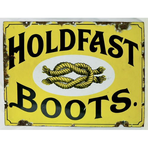 45 - HOLDFAST BOOTS ENAMEL SIGN. 18 by 24ins. Rectangualr shape enamel for HOLDFAST/ BOOTS with central r...