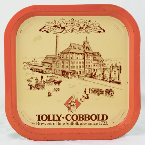 5 - SUFFOLK TOLLY COBBOLD TRAY. 12.75ins. Square shape brewery tray pict. CLIFFE IPSWICH BREWERY/ TOLLY ...